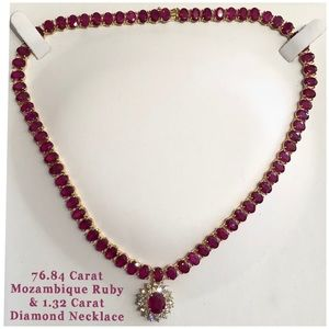 76.84 Ct Mozambique Ruby 1.32 Ct Diamond Necklace
